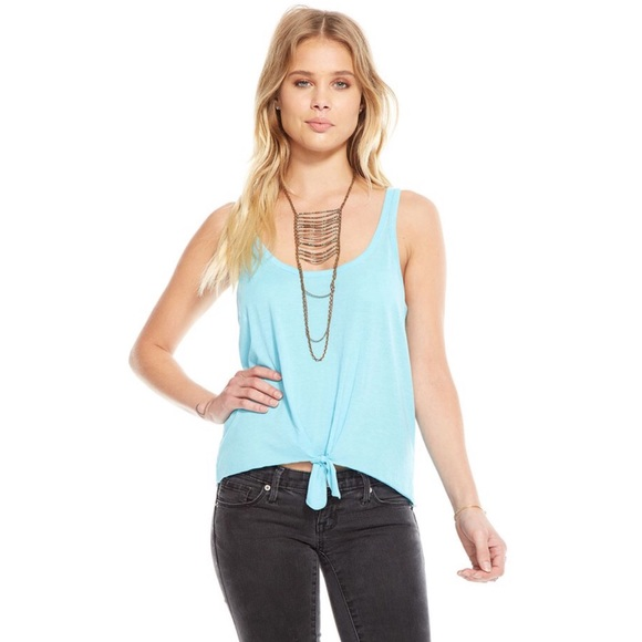Chaser Tie Front Scoop Neck Tank